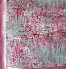 """5 Yards Pink Green Silky Print Abstract Polyester Chiffon Fabric 56"""" wide"""
