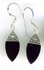 """925 Sterling Silver Black Onyx & Marcasite Drop / Dangle Hook Earrings  L 1.3/8"""""""