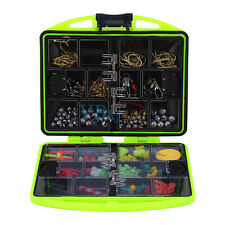 24 Compartment Fishing Tool Tackle Box Full Loaded Lure Bait Hooks Sinker Kit AM