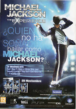 "MICHAEL JACKSON ""THE EXPERIENCE"" SPANISH PRESS ADVERTISEMENT / NINTENDO WII PSP"