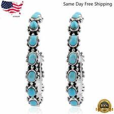 Elegant 925 Sterling Silver Turquoise Hoop Hoops Earring Pairs Southwest Jewelry