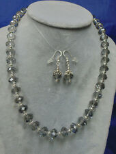 BEAUTIFUL FACETED SMOKY GRAY AND .925 STERLING SILVER NECKLACE AND EARRING SET
