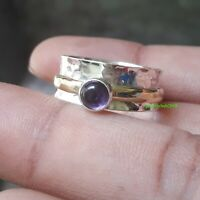 Amethyst Solid 925 Sterling Silver Spinner Ring Meditation Statement Ring Sr714