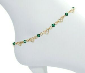 Anklet Custom Gold with Swarovski Crystals Hearts Optional Extension Chain