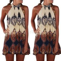 Women Sleeveless Long Shirt Dress Summer Beach Floral Print Sundress Shirt Dress