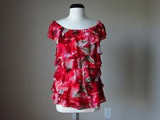 NWT White house black market tiered garden floral print blouse red top Large