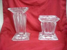 """2 Vintage German Lead Crystal """"Partylite"""" Quad Prism Pillar Candle Holder #3364"""