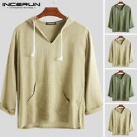 Retro Mens Linen Shirt Hoodies Long  Sleeve Holiday Chinese Yoga Kung Fu Top Tee