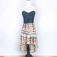 Socialite Women Strapless High Low Tie Dye Casual Dress Small