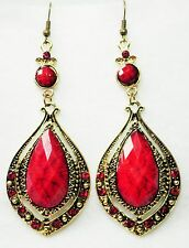 """Long Gold Tone & Red Faceted Plastic Drop Earrings on Hooks   9.25cm  (3.1/2"""")"""