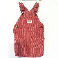 Oshkosh Girl Vestbak Overall Dress Red Engineer Stripes Jumper Romper 12 Months