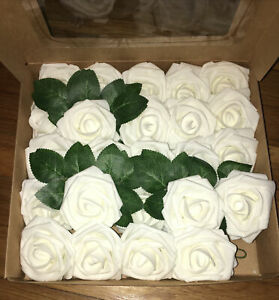"""NWT Box LING'S  Moment Artificial Flowers 24 Real Look WHITE ROSES 10"""" Stem"""
