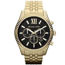 Nuevo Michael Kors MK8286 Lexington Negro Dial Cuarzo Tono Oro Reloj Para Hombre