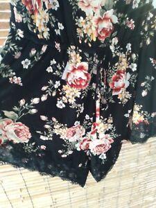 City Chic M Sleep Romper PJs Playsuit Sleepwear Black Floral Curvy Lingerie
