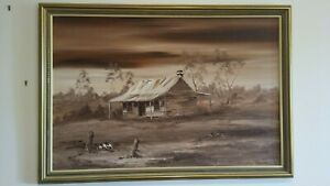 Nola Garrett Large Original Oil on Canvas -Framed-Old Timber House in Country