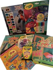 Lot of 7 Kid's activity/coloring books, crayola crayons, and stickers Trolls.