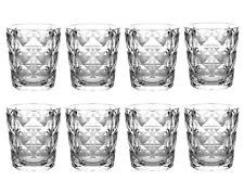 QG 13 fl oz Diamond Cut Pattern Clear Acrylic Plastic Glass Cup Tumbler Set of 8