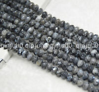 """Faceted 4x6mm India Labradorite Gray Gems Rondelle Loose Bead 15"""" Strand JL189"""