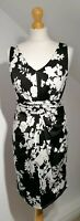Max Mara Studio Size S Black And White Floral Dress Sleeveless V-neck Jersey