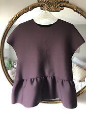 H&M Purple Scuba Peplum Hem Top Tee - Size 10