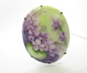"Porcelain Purple Violet Flowers Oval Hand Painted Vintage Brooch Pin 2 3/8"" Long"