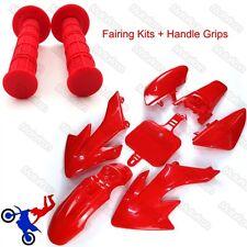 Red Plastic Fender Kit+Handle Grips For Honda XR50 CRF50 Pit Dirt Motor Bike