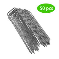 50x U-Shaped Landscape Staples SOD Garden Stakes Weed Barrier Pins Fence Anchors