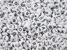 Alphabet Beads 250pc Round White/Black Letters Kids Jewellery Party FREE POSTAGE