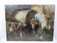 """August KÜHLES (1859-1926) - Phantastisches Gemälde """"Die Zollkontrolle"""" um 1880"""