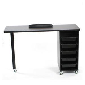 Urbanity Metro Nail Technician Desk Table Salon Manicure Workstation Black