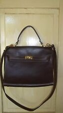Designer Style Kelly Bag Chocolate Brown Leather Birkin Style Italy Made