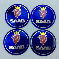 "4x65MM 2.55"" Blue Aluminum Sticker Emblem Wheel Rim Center Hub Cap fit SAAB Logo"
