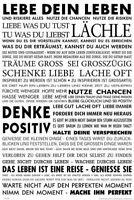 Lebe Dein Leben Motivational Aufkleber Sticker Denke Positiv Lächle ca. 10x7 cm