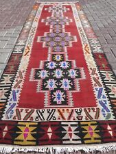 "Vintage Turkish Kilim Rug Runner,Hallway Rug 42,5""x127,5"" Long Carpet Runner"