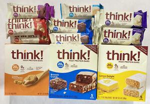 69 Think Protein Bars ~ 7 Varieties ~ Think Thin ~ Gluten Free ~ 20g Protein