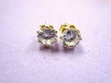 LQQK BEAUTIFUL 14K Yellow GOLD STUD EARRINGS Sparkly CLEAR ROUND CZ's over 1 twc