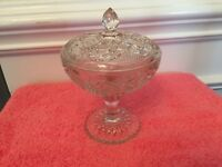 Vintage Clear Glass Candy Dish w/Lid and Scalloped Pedestal