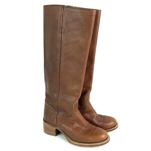 Frye Womens Leather Boots vintage 6505T Made USA leather western boho tall