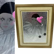 🌟Vintage Holographic Etched Foil Metal Pierrot Sad Beautiful Clown Picture Gift