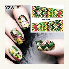 Nail Art Water Decals Stickers Transfers NEON Knitted Knitting Sweater Effect