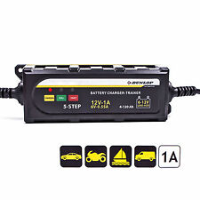 Dunlop Batterieladegerät 6 & 12 Volt, Säure & Gel Batterie,Trainer für Motorrad