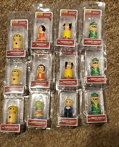 Lot of 12 Justice League Pin Mates Wooden Figures Assorted Characters  NEW MIB