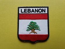 WORLDWIDE FREEPOST COUNTRY SHIELD FLAG SEW & IRON ON PATCH - LEBANON