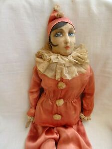 Antique Pierrette Doll Large Size 32in Handpainted Face circa 1860