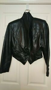 North Beach Leather Michael Hoban Leather Jacket Black Size 5/6 Vintage Sexy Hot