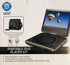 "ONN Swivel Portable DVD Player Kit 7"" Display Remote Control USB Port AC adapter"