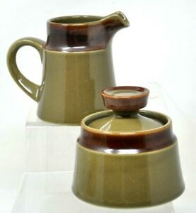 Noritake Primastone Sea Mist Creamer & Sugar Set Vintage 70's Green Brown