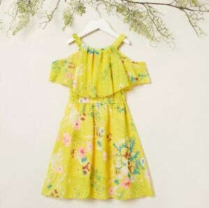 size 4/6/7/8/9 years new girls dress yellow floral cold shoulder girls dress