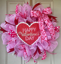 Happy Valentine's Day Wreath with Glittered Heart Sign, Heart-Print Bow