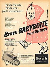 PUBLICITE ADVERTISING 025  1958  BEVERLY  les bottines bébé BABYBOTTE fourrées